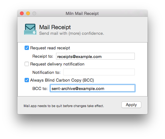 miln mail receipt read and delivery headers for macos mail